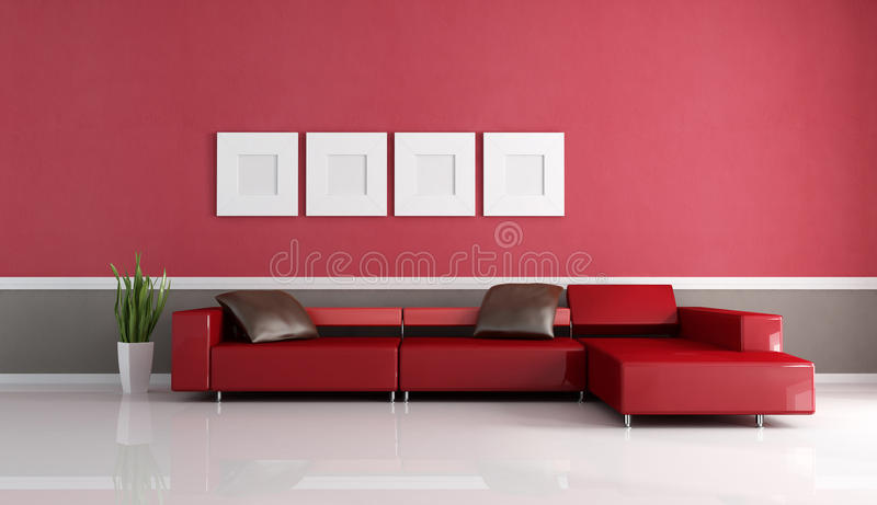 Contemporary Couch In Minimalist Lounge Stock Illustration ...
