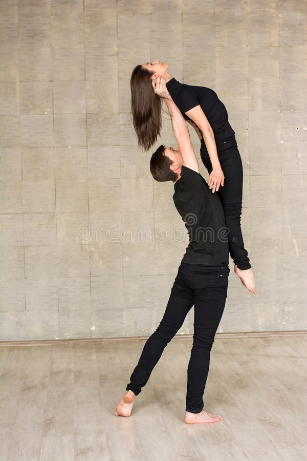 Contemporary couple dance lift. royalty free stock image