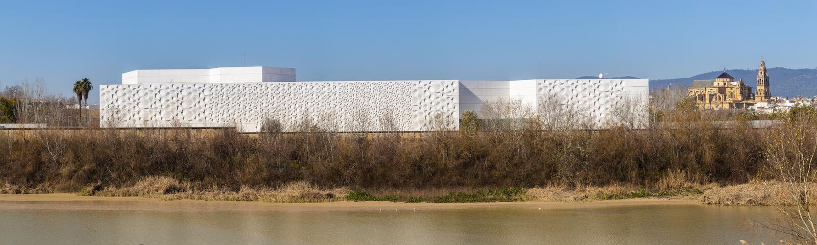Contemporary creation center building on Corodoba city in Spain. Exterior of modern white Contemporary creation center building placed on embankment of Cordoba royalty free stock image