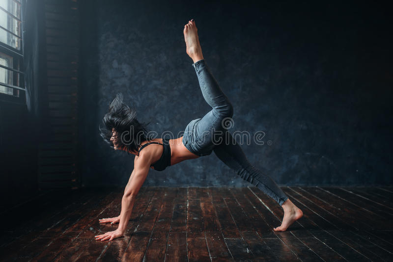 Contemporary dance, female dancer, contemp dancing stock photo
