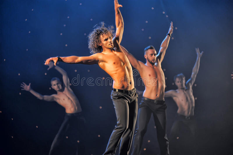 Contemporary Dance Theatre at the scene. St. Petersburg Dance Theatre TEMPTATION royalty free stock images