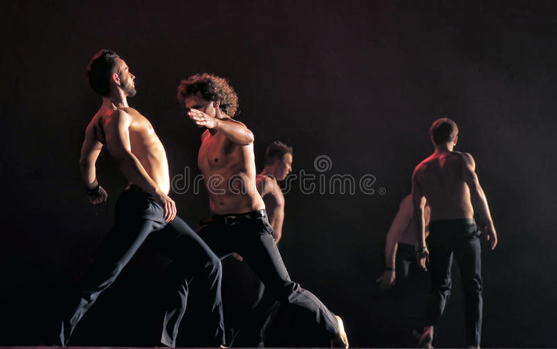 Contemporary Dance Theatre at the scene. St. Petersburg Dance Theatre TEMPTATION royalty free stock photo