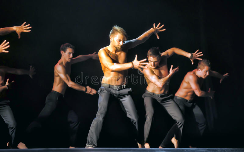 Contemporary Dance Theatre at the scene. St. Petersburg Dance Theatre TEMPTATION royalty free stock photos