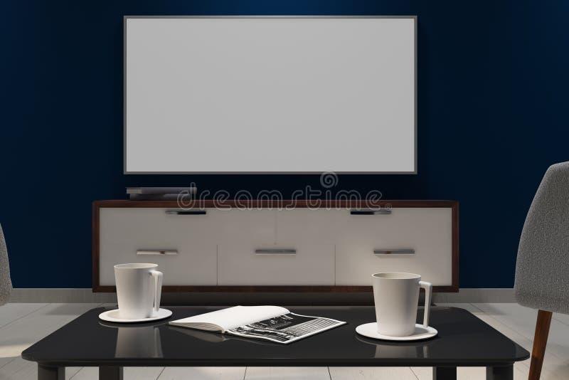 Contemporary dark interior with empty white TV stock illustration