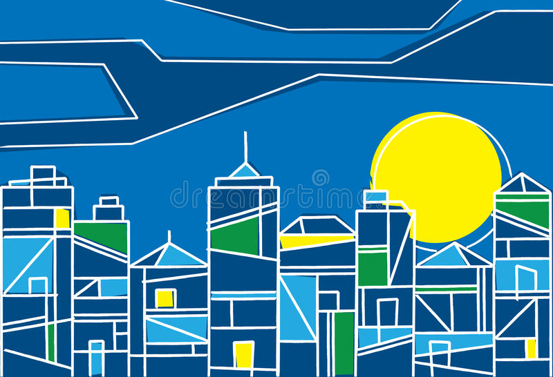 Contemporary design of a city at night. With skyscrapers and highrise buildings formed of stylized geometric patterns under a colourful setting sun royalty free illustration