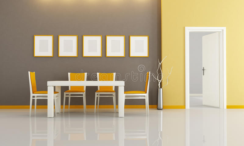 Contemporary dining room stock illustration