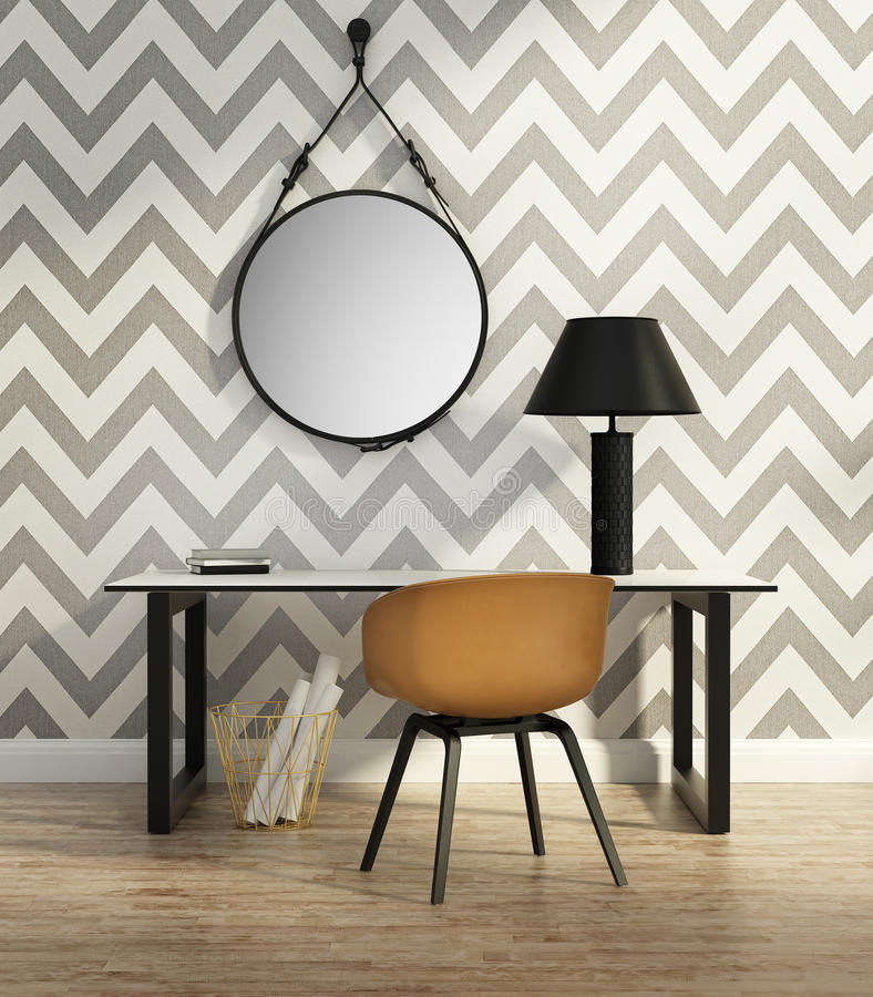 Contemporary elegant home office royalty free illustration