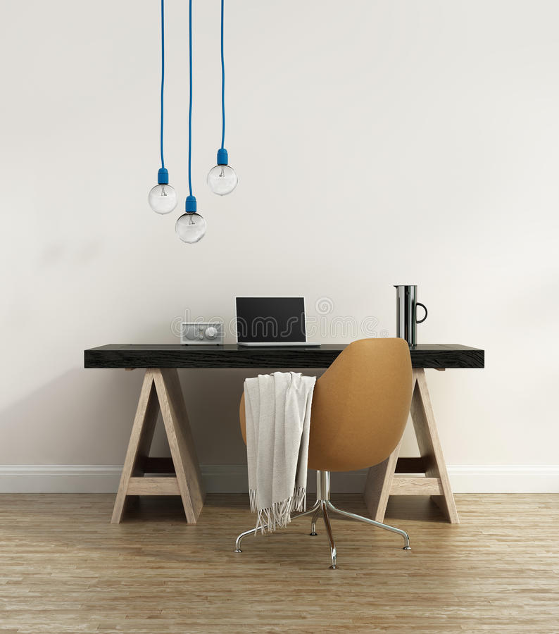 Contemporary elegant home office. With hanginh lights vector illustration