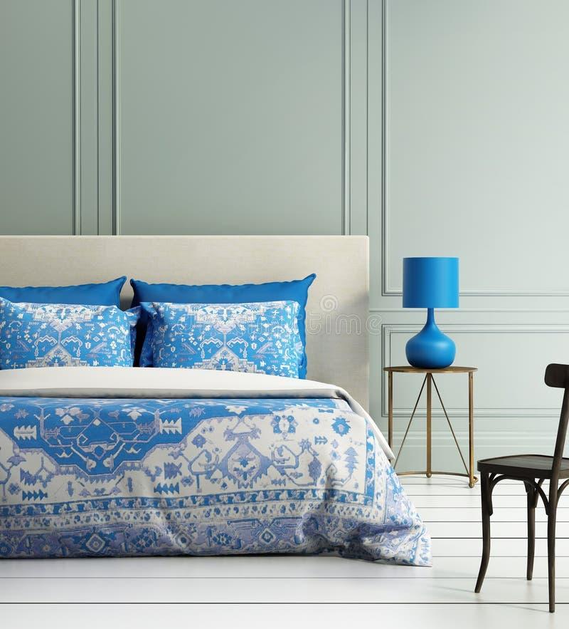 Contemporary elegant luxury atmospheric bedroom te. Al wall and blue textured duvet