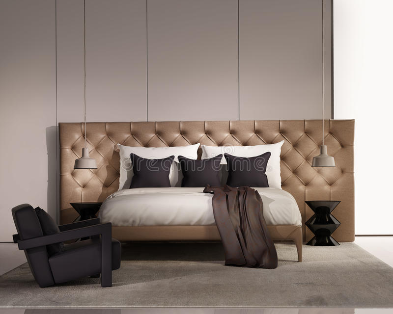 Contemporary elegant luxury bedroom with leather bed vector illustration