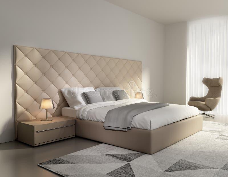 Contemporary elegant luxury beige leather bedroom. Rendering of a Contemporary elegant luxury beige leather bedroom royalty free illustration