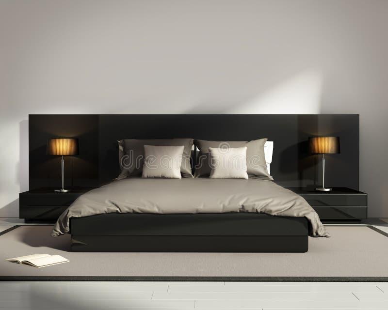 Contemporary elegant luxury black bedroom stock illustration