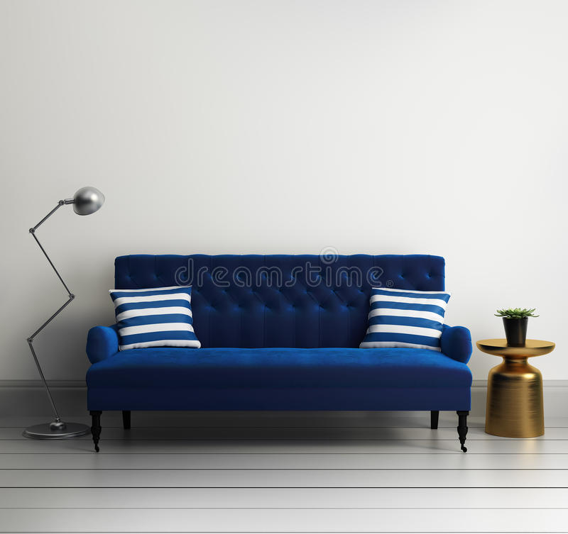 Contemporary elegant luxury blue velvet sofa stock illustration