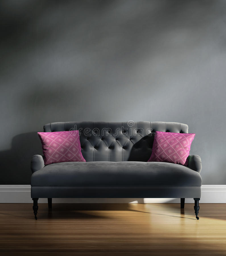Download Contemporary Elegant Luxury Grey Velvet Sofa With Pink Cushions Stock Illustration - Image: 39521921