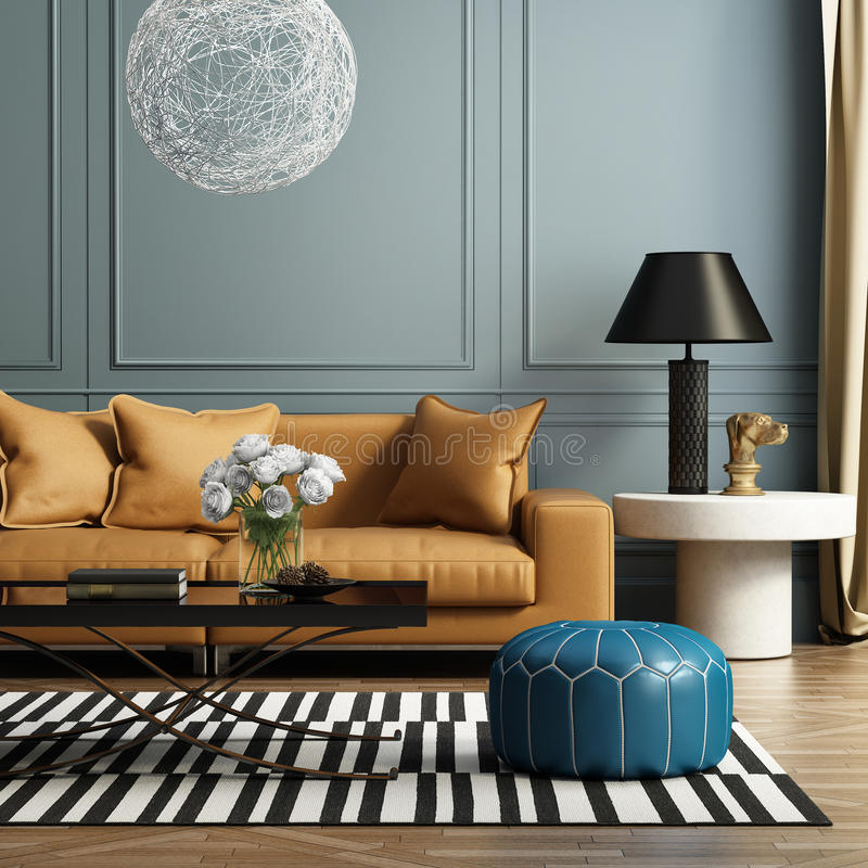 Contemporary elegant luxury living room royalty free illustration