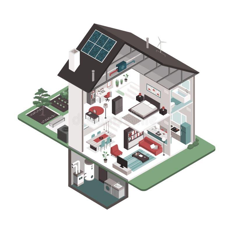 Contemporary energy efficient house interiors stock illustration