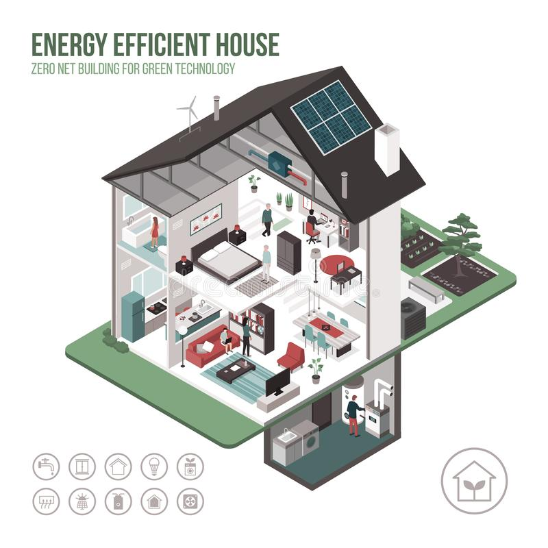 Contemporary energy efficient house interiors. Contemporary energy efficient isometric eco house cross section and room interiors on white background with icons royalty free illustration