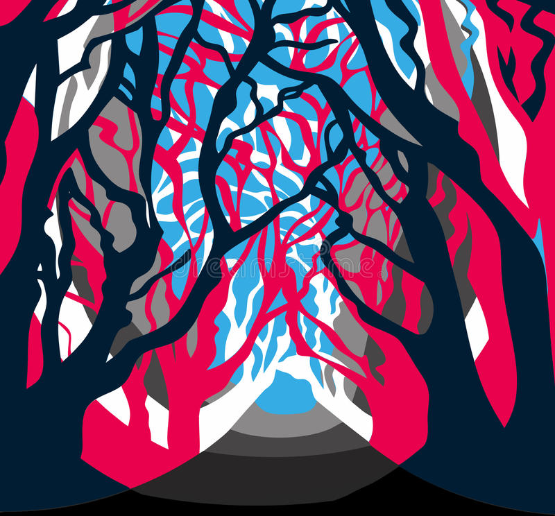 Contemporary Forest drawings, wood, trees. Alley vector illustration