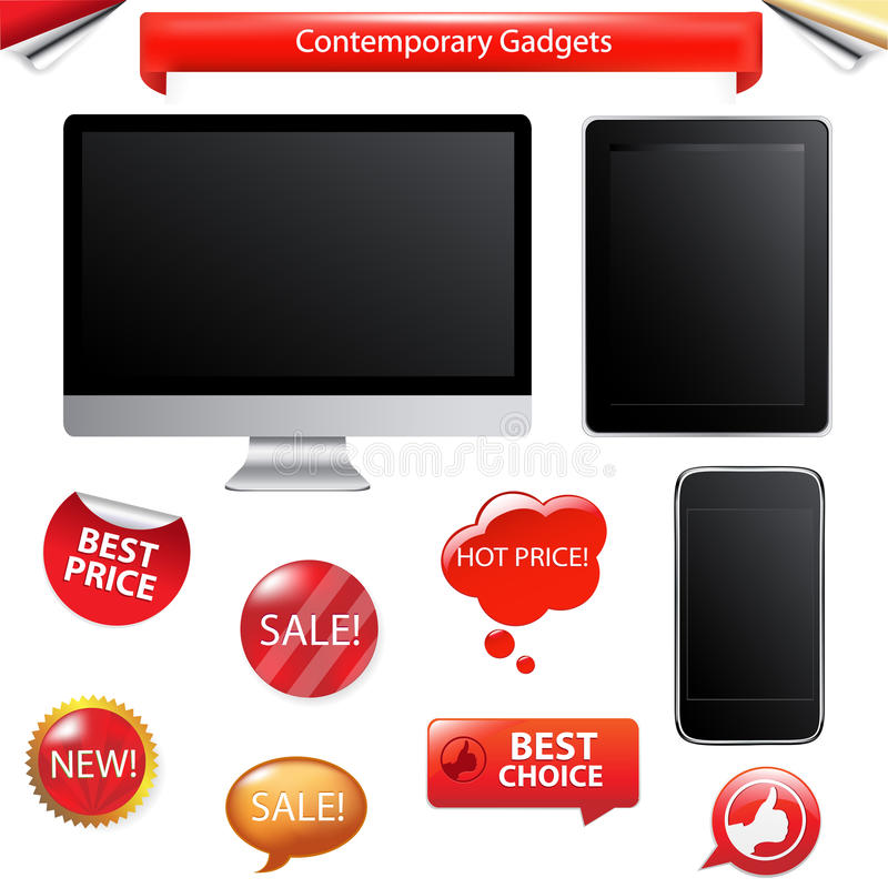 Contemporary Gadgets. Vector royalty free illustration