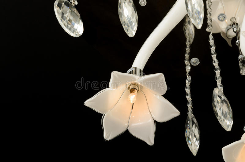 Contemporary glass chandelier fragment royalty free stock photo