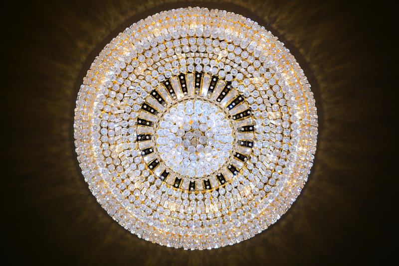Contemporary glass chandelier stock photo