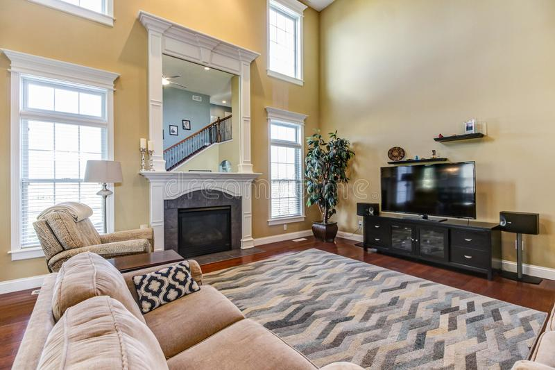 Contemporary great room with fireplace and built-in mirror. stock image