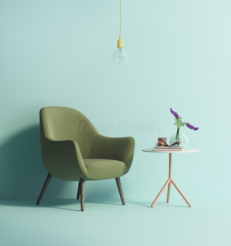 Contemporary green armchair on mint wall royalty free illustration