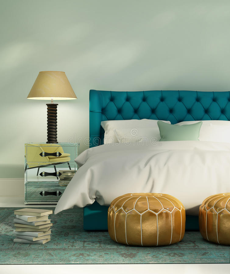 Contemporary green luxury bedroom with leather bed. And vintage rug stock illustration