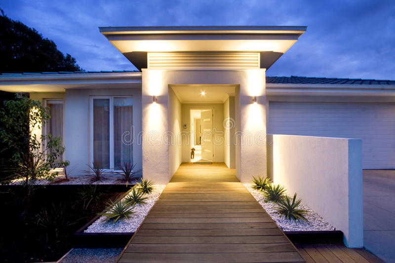 Contemporary home front entrance. Front entry and deck of a contemporary new home in Australia royalty free stock photography