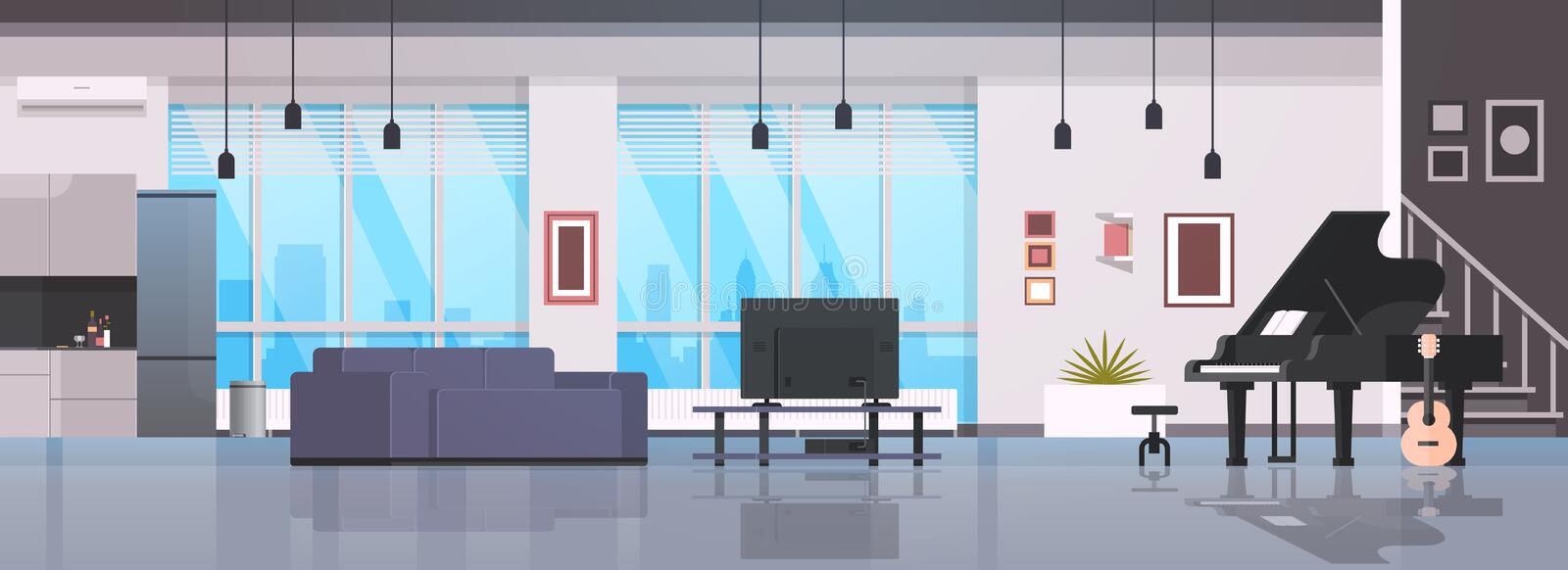 Contemporary home hall musical instruments piano guitar empty nobody house room modern apartment interior flat. Horizontal banner vector illustration vector illustration