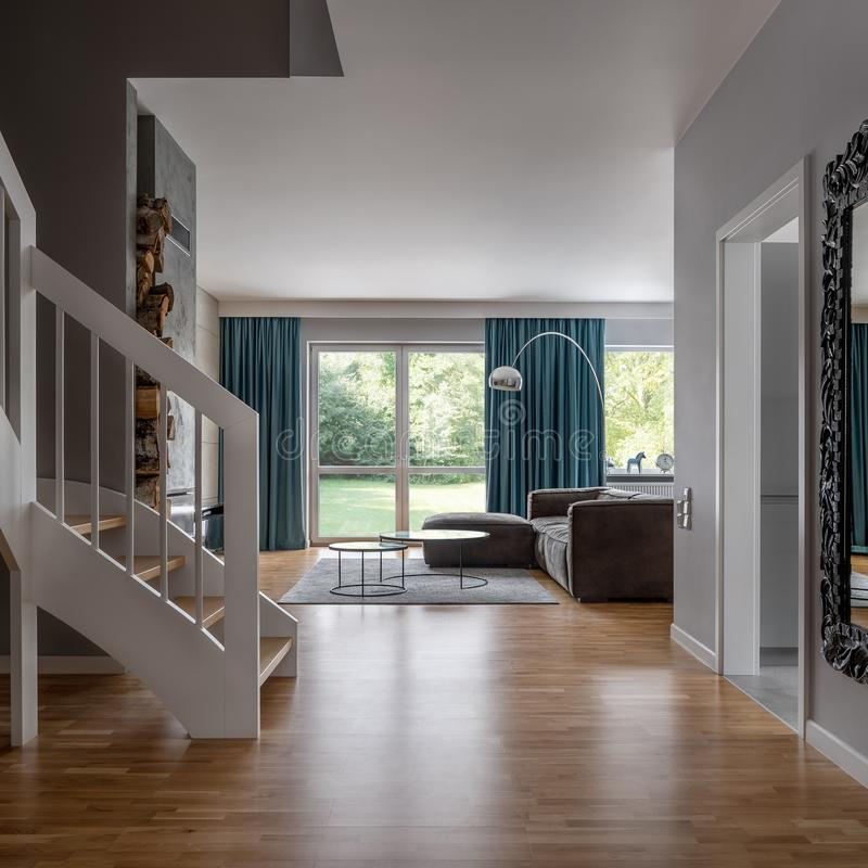 Contemporary home interior with stairs royalty free stock image