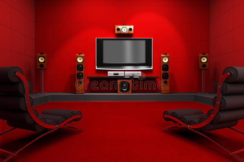 Contemporary Home Theater royalty free illustration