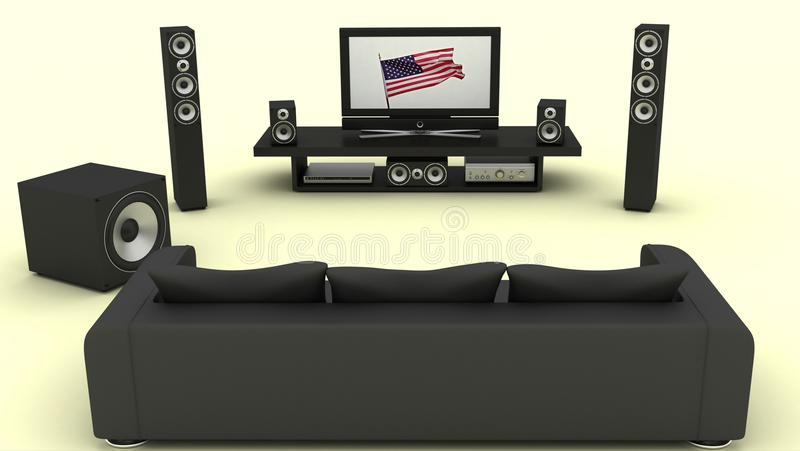 Contemporary home theater room vector illustration