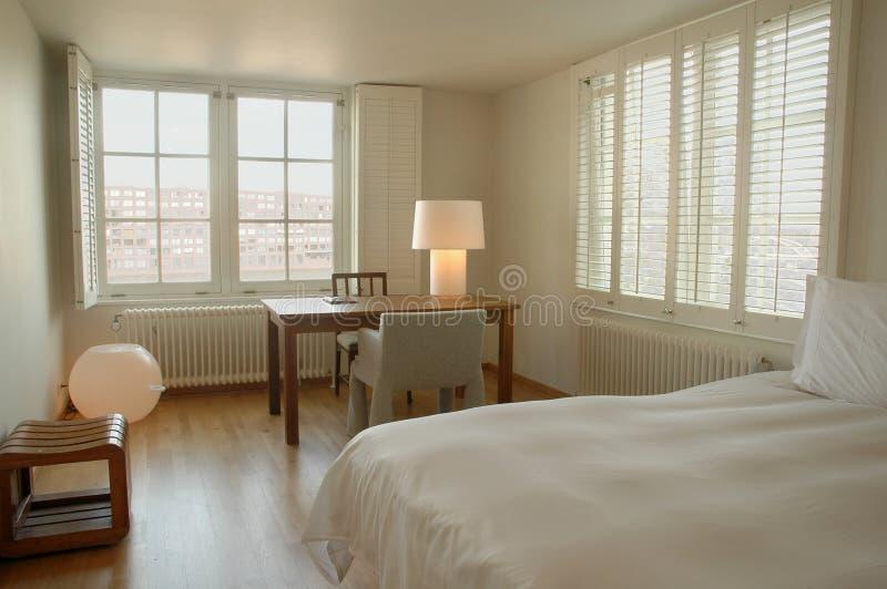 Contemporary hotel bedroom royalty free stock photo