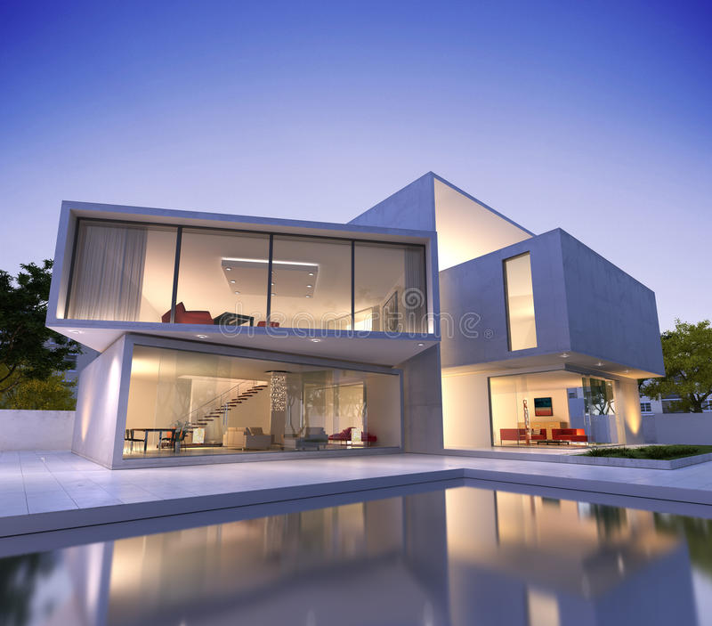 Contemporary house with pool. External view of a modern house with pool at dusk royalty free stock photography