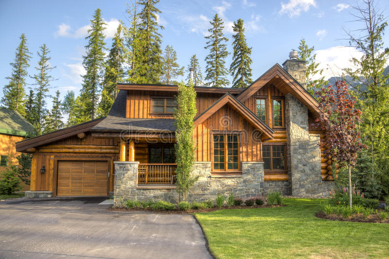 Contemporary houses in ski resort. Modern houses located in a ski resort stock photo