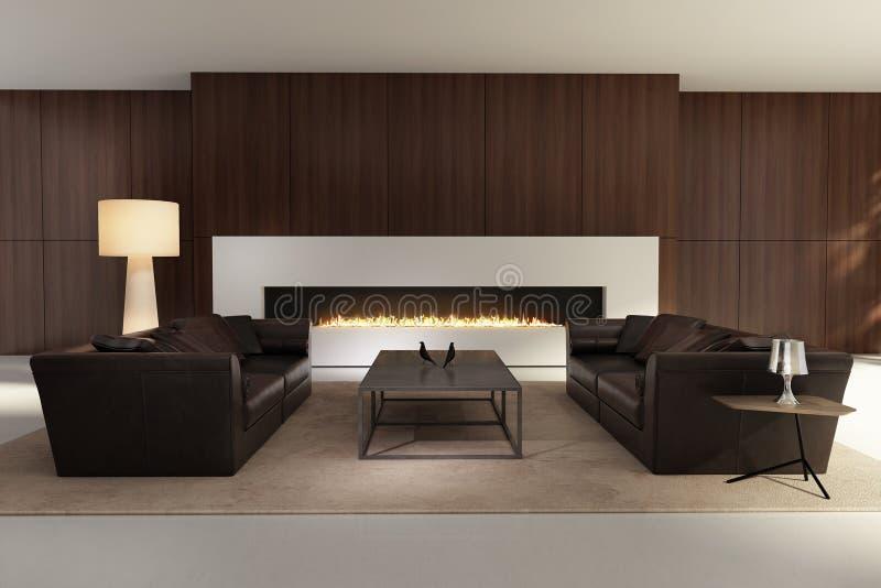 Contemporary interior, a living room with a fireplace. 3d render of a Dark contemporary interior, a living room with a flat gas fireplace vector illustration