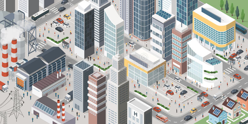 Contemporary isometric city. Isometric contemporary city with skyscrapers, stores, factories, homes, vehicles and people in the streets royalty free illustration
