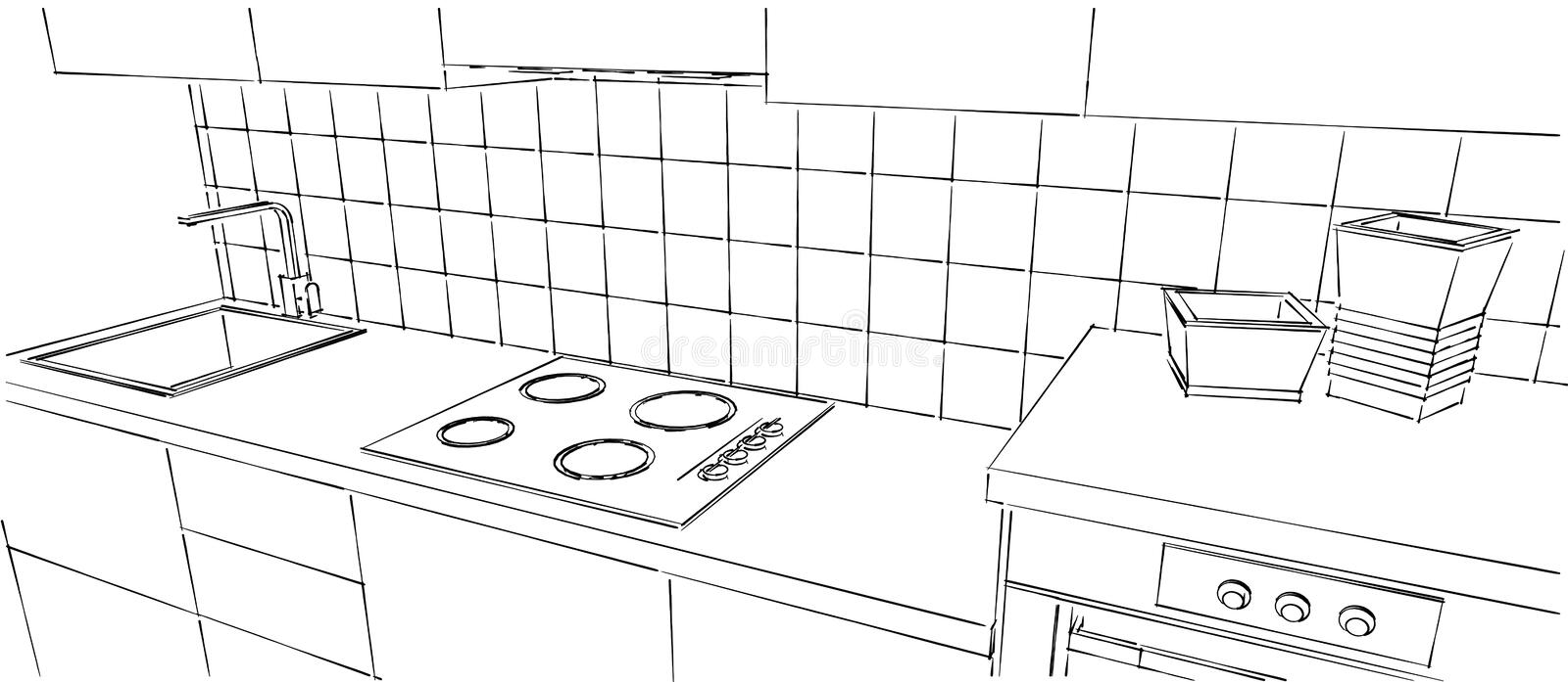 Contemporary Kitchen Counter Close Up Black And White Sketch Drawing Stock Illustration