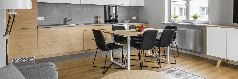 Contemporary kitchen design, panorama stock photo