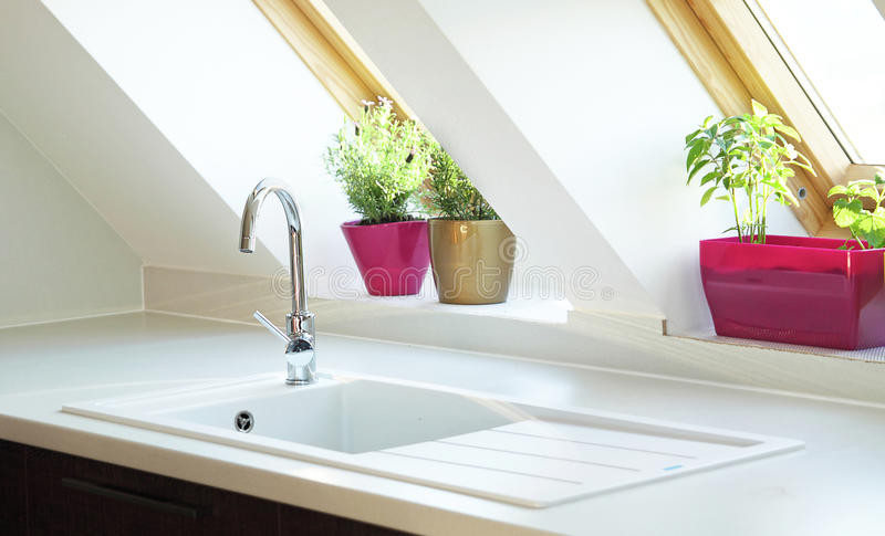 Contemporary kitchen sink royalty free stock images