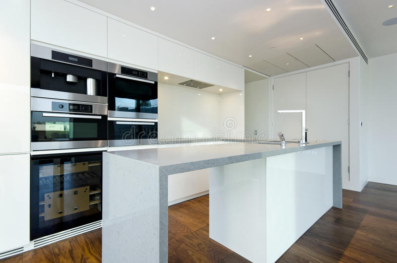 Contemporary kitchen with top spec appliances stock image