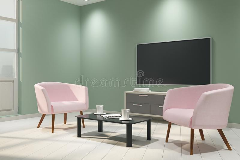 Contemporary light interior with empty TV. And furniture. Mock up, 3D Rendering stock illustration