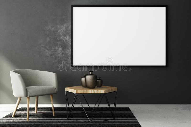 Contemporary living roo with blank banner. Contemporary living room interior with blank banner on concrete wall and furniture. Style and advertising concept royalty free illustration