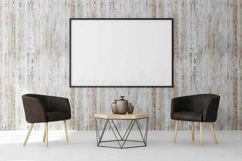Contemporary living roo with blank billboard. Contemporary living room interior with blank billboard on concrete wall and furniture. Style and advertising royalty free illustration