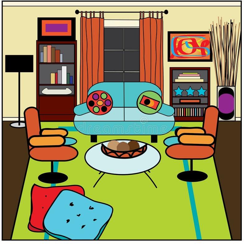 Contemporary living room stock vector illustration of for Sala de estar dibujo