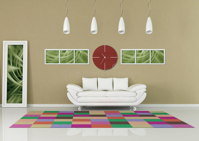 Contemporary - living room. Contemporary living room with red clock and colored carpet - rendering,the picture art on wall is a my composition vector illustration