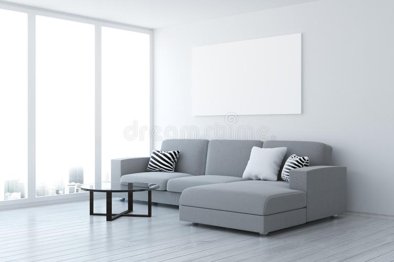 Download Contemporary Living Room With Blank Poster Stock Illustration