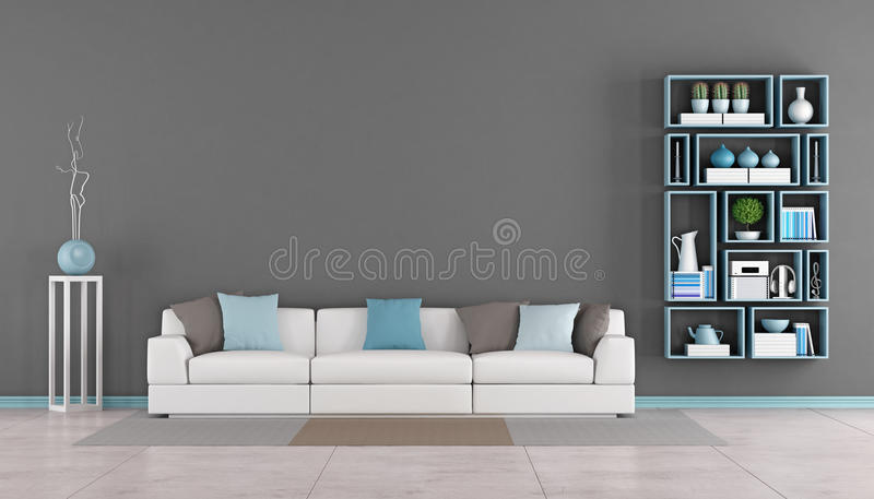 Contemporary living room with couch and bookcase. Contemporary living room with white sofa,colorful cushion and wall bookcase - rendering royalty free illustration