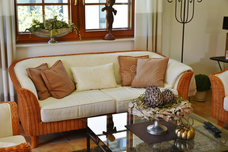 Contemporary living room stock photo
